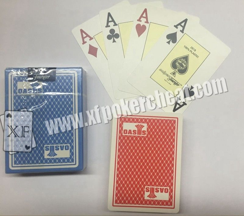 Gambling Gadget Naipes Fournier Plastic 2818 Red / Blue Jumbo Face Playing Cards